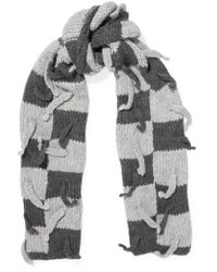 Loewe - Gray Embellished Checked Wool-blend Scarf - Lyst