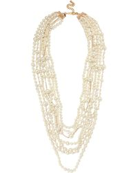 Kenneth Jay Lane - White Gold-plated, Crystal And Faux Pearl Necklace - Lyst