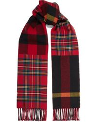 Burberry - Red Fringed Checked Wool Scarf - Lyst