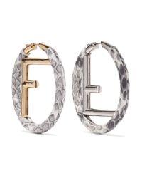 Fendi - Metallic Elaphe, Gold And Silver-plated Hoop Earrings - Lyst