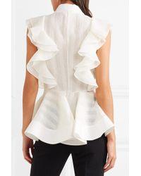 Antonio Berardi - White Ruffled Crepe Shirt - Lyst