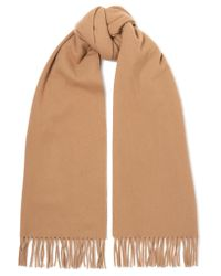 Acne | Natural Canada Narrow Fringed Wool Scarf | Lyst