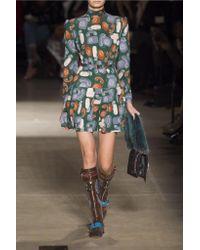 Miu Miu - Green Belted Printed Jersey Mini Dress - Lyst
