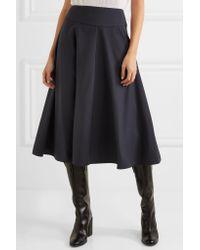 Jil Sander - Blue Flared Wool-blend Midi Skirt - Lyst