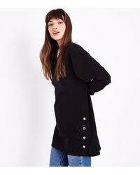 New Look - Black Popper Side Tunic Top - Lyst