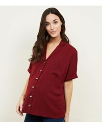 f32ed9f15594e New Look Maternity Burgundy Revere Collar Nursing Shirt in Red - Lyst