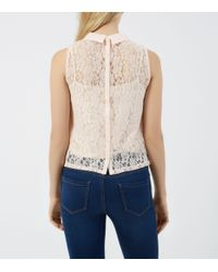 New Look | Shel Pink Collared Corded Lace Boxy Shell Top | Lyst