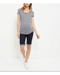 New Look - Maternity Blue Under Bump Knee Length Denim Shorts - Lyst