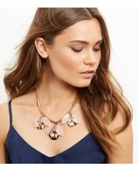 New Look - Shell Pink Flower Necklace - Lyst