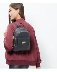 New Look - Black Leather-look Mini Backpack - Lyst