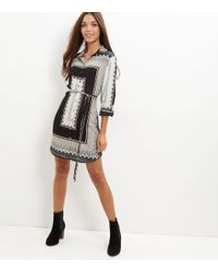 New Look | Black Abstract Print Belted Shirt Dress | Lyst