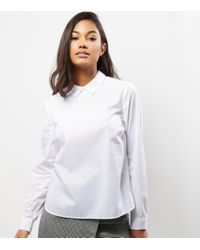 New Look   White Button Back Long Sleeve Shirt   Lyst