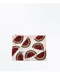 New Look Pink Watermelon Sequin And Beaded Clutch