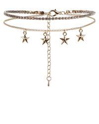 New Look - Metallic Gold Layered Star Diamantã© Choker - Lyst