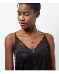 New Look | Metallic Silver Lariot Drop Choker | Lyst