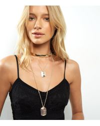 New Look | Metallic Gold Layered Dog Tag Necklace | Lyst