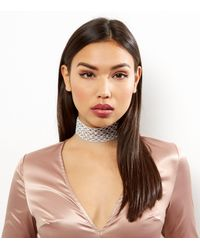 New Look | Metallic Silver Diamanté Wide Filigree Choker | Lyst