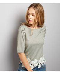 New Look | Gray Dark Grey Floral Lace Hem Short Sleeve Top | Lyst