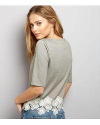 New Look | Gray Dark Grey Floral Lace Hem Short Sleeve Top | Lyst