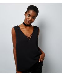 New Look   Black Double Strap Front Sleeveless Top   Lyst