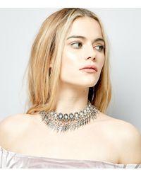 New Look - Metallic Silver Statement Tassel Drop Choker - Lyst