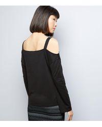 New Look - Black Cold Shoulder Top - Lyst