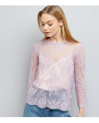 New Look | Purple Lilac Lace Stud Trim Long Sleeve Top | Lyst
