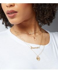 New Look - Metallic Gold Layered Dreamer Charm Necklace - Lyst