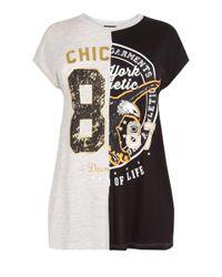 New Look - Curves Black Spliced Eagle 87 T-shirt - Lyst