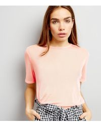 New Look - Pink Mesh Back T-shirt - Lyst