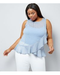 New Look - Curves Pale Blue Frill Trim Chiffon Top - Lyst