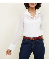 New Look - Red Faux Croc Circle Buckle Hip Belt - Lyst