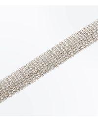 New Look | Metallic Silver Crystal Diamante Embellished Bracelet | Lyst