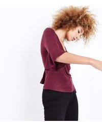New Look - Purple Burgundy Bell Sleeve Wrap Front Top - Lyst