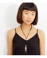 New Look - Black Layered Tassel Drop Necklace - Lyst