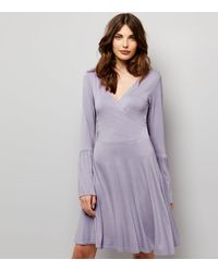 New Look | Purple Lilac Bell Sleeve Wrap Front Dress | Lyst