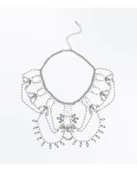 New Look - Metallic Silver Multi Gem Embellished Drape Necklace - Lyst