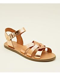 f81a602c1344 New Look Girls Rose Gold Leather-look Caged Flat Sandals in Metallic ...