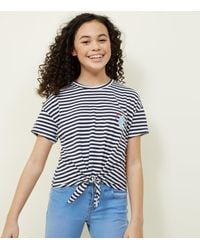 caa65be102c721 New Look Girls Blue Stripe Narwhal T-shirt in Blue - Lyst