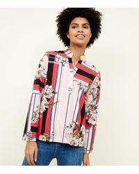 Lulua London Pink Floral Stripe Shirt