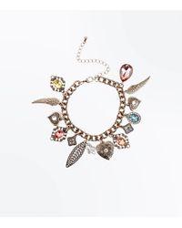 New Look - Metallic Gold Gem Charm Bracelet - Lyst