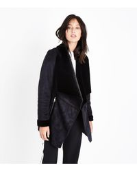 New Look - Black Suedette Waterfall Jacket - Lyst
