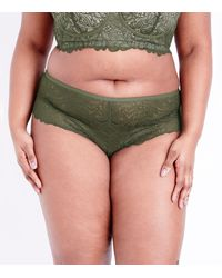 New Look - Green Curves Khaki Lace Brazilian Briefs - Lyst