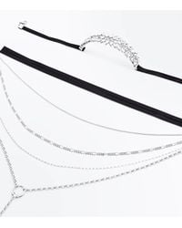 New Look - Black Metallic Gem Layered Necklace - Lyst
