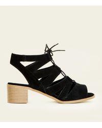 da580c45d7b4 New Look Black Suede Low Block Heel Ghillie Sandals in Black - Lyst