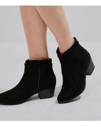 5f79e592143 New Look Black Suedette Slouch Western Ankle Boots in Black - Lyst