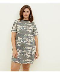 166708efa9 New Look Curves Khaki Camo Print T-shirt Dress in Natural - Lyst