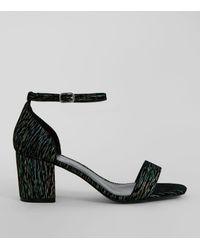 New Look - Wide Fit Black Iridescent Brocade Block Heel Sandals - Lyst