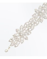 New Look - Metallic Silver Diamante Bracelet - Lyst