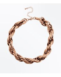 New Look - Metallic Gold Chunky Twisted Rope Necklace - Lyst